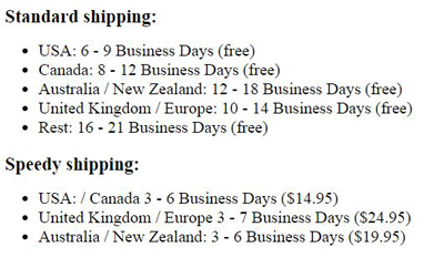 Shipping Specification