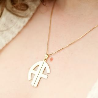 24k Gold Plated 2 Letters Capital Monogram Necklace - How it looks in reality - Thumbnail - 8