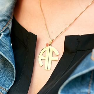 24k Gold Plated 2 Letters Capital Monogram Necklace - How it looks in reality - Thumbnail - 0