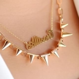 24K Gold Plated Carrie Name Necklace - How it looks in reality - Thumbnail - 0