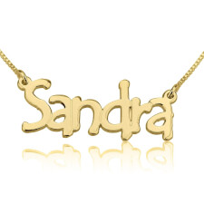 24K Gold Plated Tree Style Name Necklace
