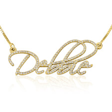 Cubic Zirconia Script Name Necklace in Gold Plating