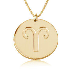 Disc Zodiac Necklace in Gold Plating
