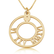 Circle Roman Numeral Necklace in Gold Plating
