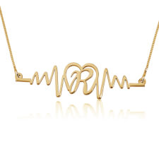 Initial Heart Beat Necklace in Gold Plating