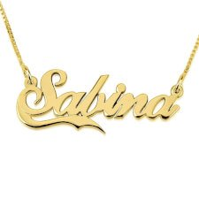 24K Gold Plated Allegro Name Necklace With Half Line