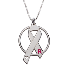 Initial Circle Breast Cancer Necklace