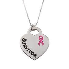 Survivor Breast Cancer Heart Necklace