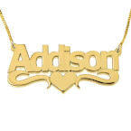 24K Gold Plated Bold Print with Heart Name Necklace - Thumb