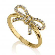 Cubic Zirconia Bow Ring in Gold Plating