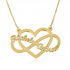 Infinity and Heart Name Necklace in Gold Plating