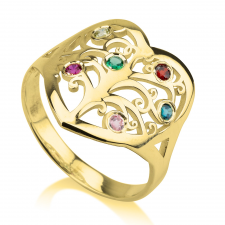 Family Tree Birthstone Ring in Gold Plating