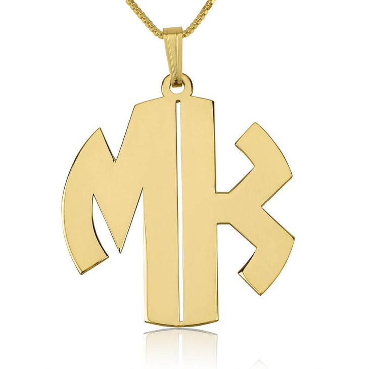 24k Gold Plated Capital Letters Monogram Necklace  - Picture 2