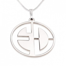 Sterling Silver Capital Letters Cut Out Monogram Necklace