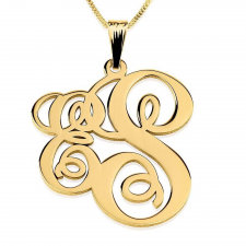 24k Gold Plated Two Letters Monogram Necklace