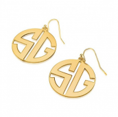 24k Gold Plated Capital Letters Border Monogram Earrings