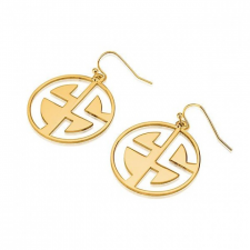 24k Gold Plated Capital Letters Cut Out Monogram Earrings