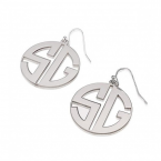Sterling Silver Capital Letters Circle Monogram Earrings - Thumb