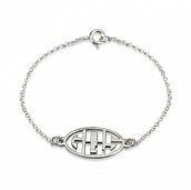Sterling Silver Capital Letters Cut Out Monogram Bracelet