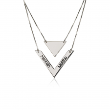 Chevron & Triangle Engraved Layered Necklace