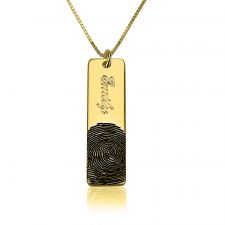 Fingerprint Bar Necklace in Gold Plating