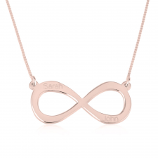 Rose Gold Two Names Infinity Necklace