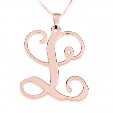 Rose Gold Curl Initial Necklace