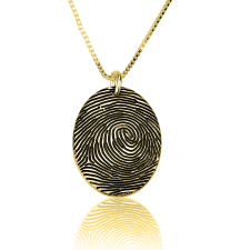 Oval Fingerprint Necklace in Gold Plating