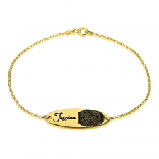 Fingerprint Bar Bracelet in Gold Plating