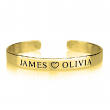 Engraved Names Bangle in Gold Plating