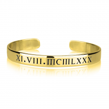 Roman Numeral Bangle in Gold Plating