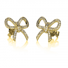 Cubic Zirconia Bow Earrings in Gold Plating