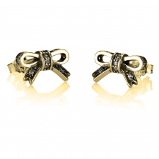 Small Cubic Zirconia Bow Earrings in Gold Plating