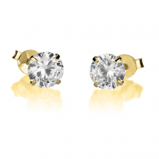 Cubic Zirconia Stud Earrings in Gold Plating