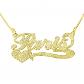 Sparkling 14k Gold Carrie Name Necklace with Underline & Heart