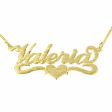 Brushed 14k Gold Carrie Name with Underline & Heart