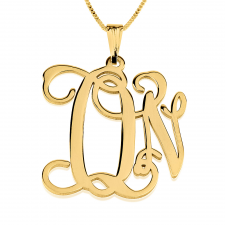 24K Gold Plated Curly Two Initials Monogram Necklace