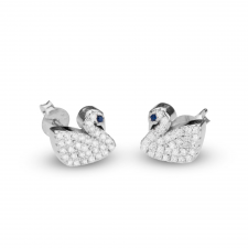Cubic Zirconia Swan Earrings