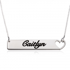 Sterling Silver Heart Bar Necklace