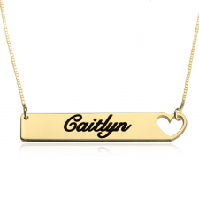 Heart Bar Necklace  in Gold Plating