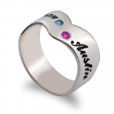 Two Names Engraved Ring with Birthstones
