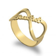 Personalized Infinity Name Ring  in Gold Plating