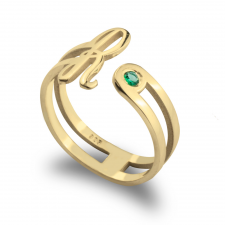 Initial Ring with Birthstone  in Gold Plating