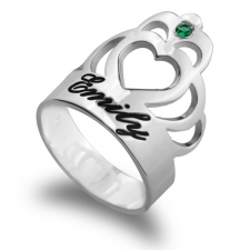 Personalized Engraved Crown Ring