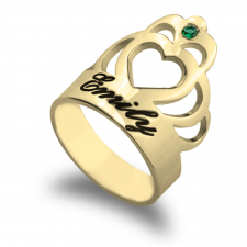 Personalized Engraved Crown Ring  in Gold Plating