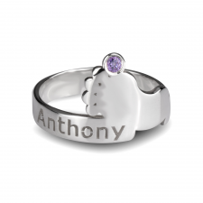 Baby Birthstone Footprint Ring