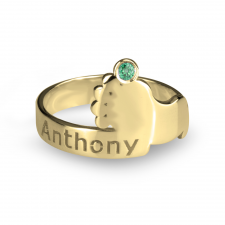 Baby Footprint Birthstone Ring in Gold Plating