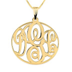 24k Gold Plated Circle Monogram Necklace - Thumb