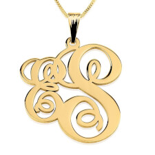 24k Gold Plated Two Letters Small-Large Monogram Necklace