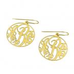 24k Gold Plated Monogram Earrings - Thumb